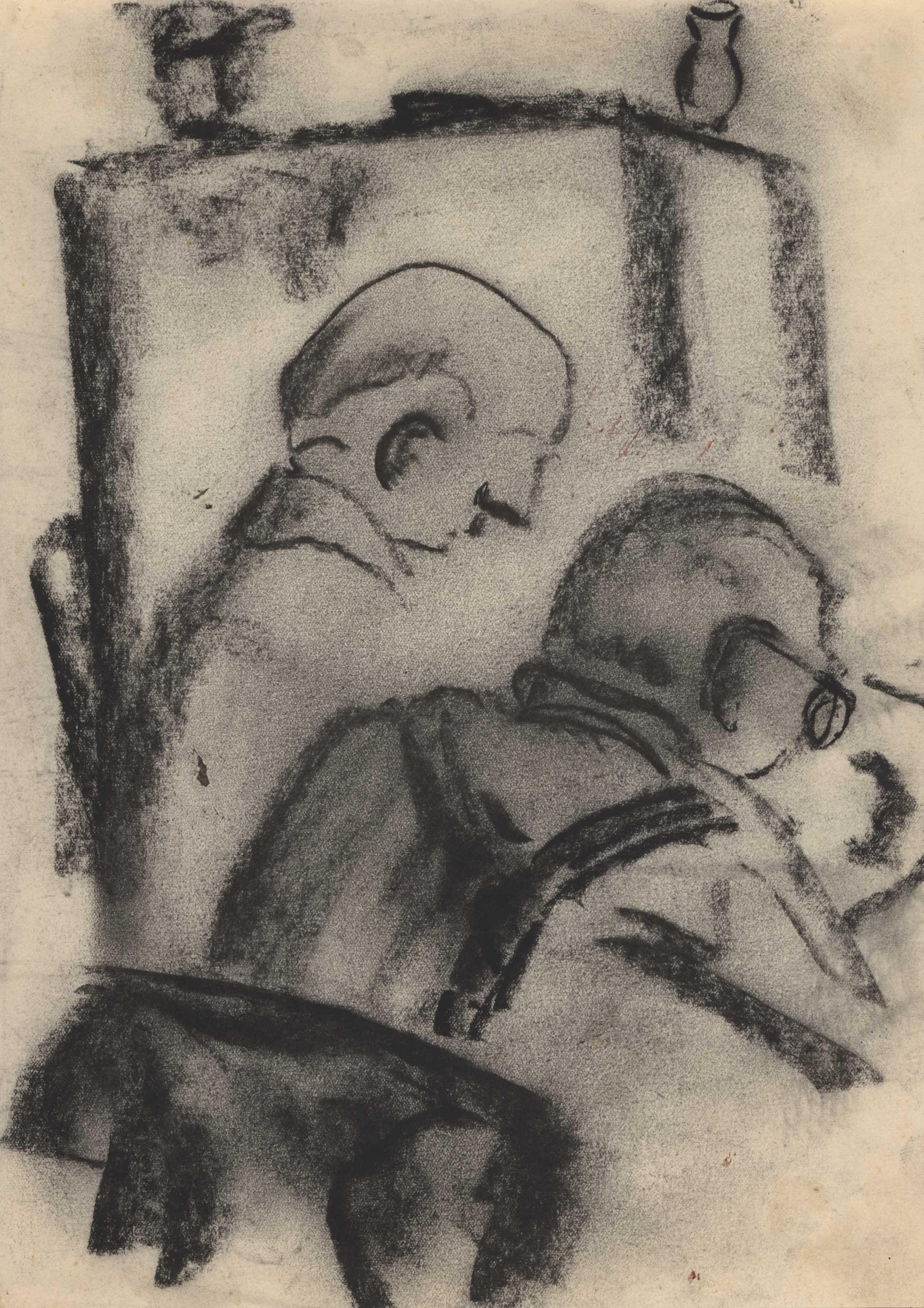 Een portret van twee patiënten, één leest de krant