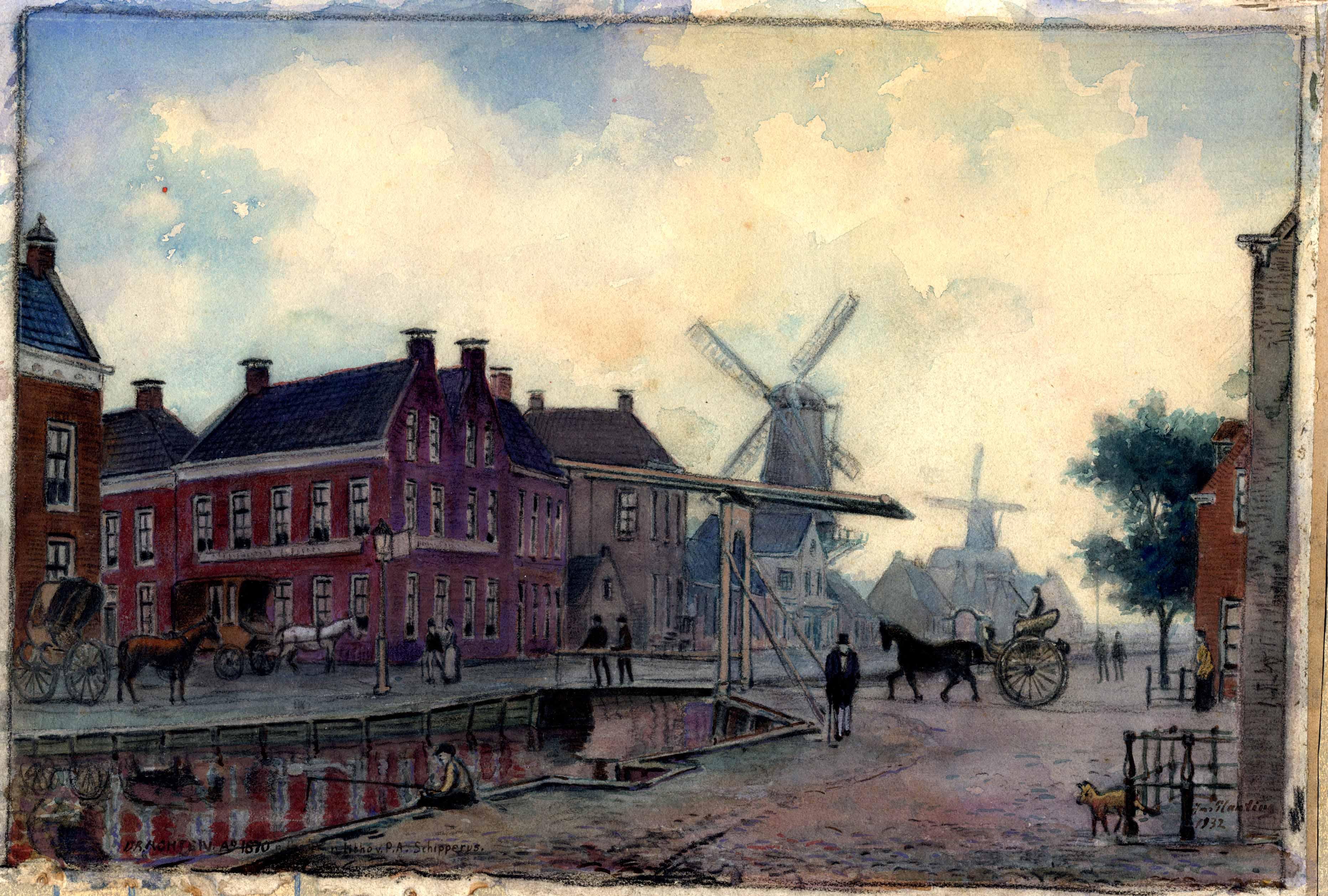 Aquarel van de Hoofdbrug te Drachten rond 1870
