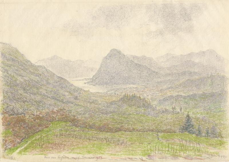 Heuvellandschap met meer