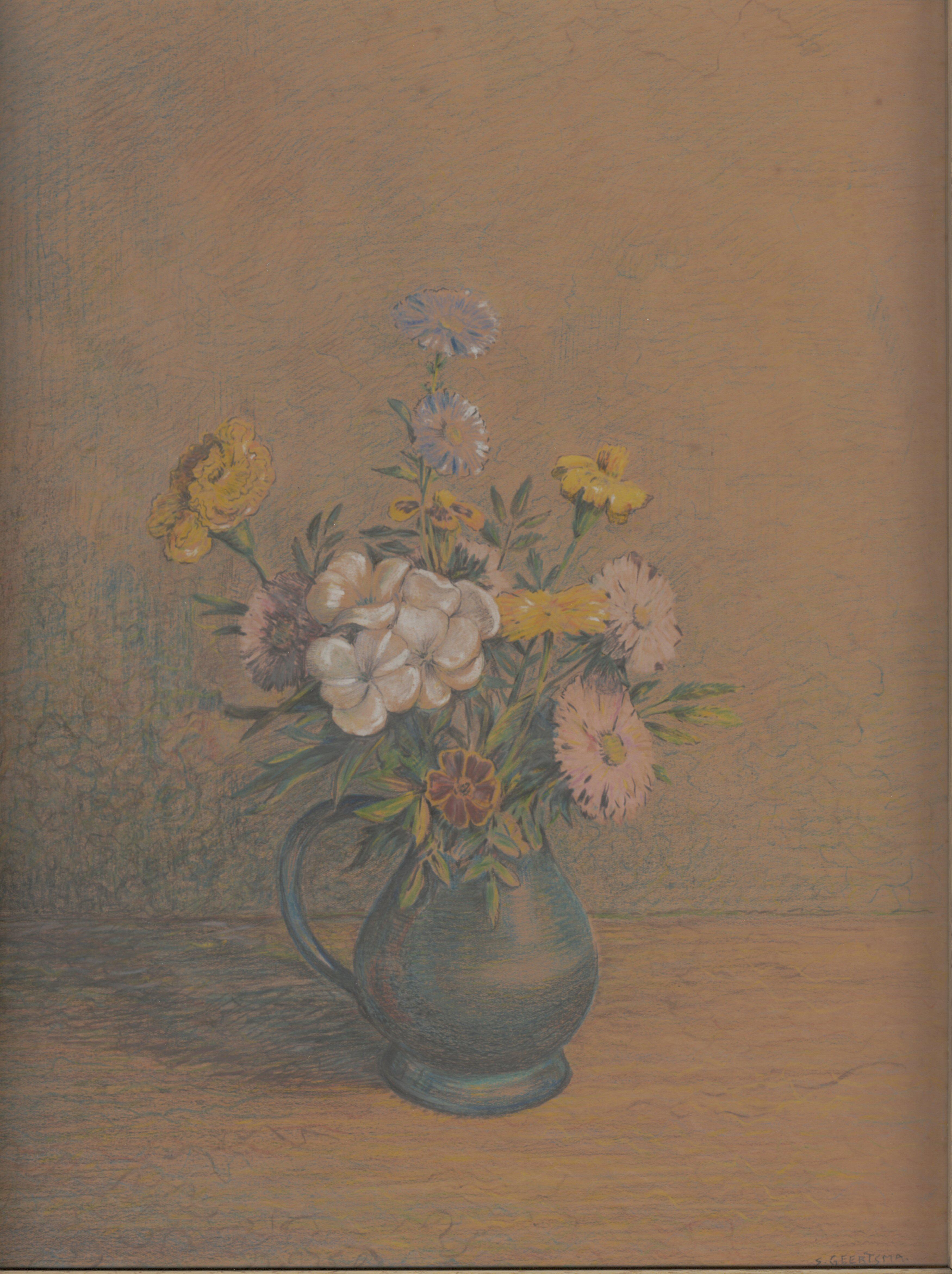 Stilleven met een vaasje bloemen