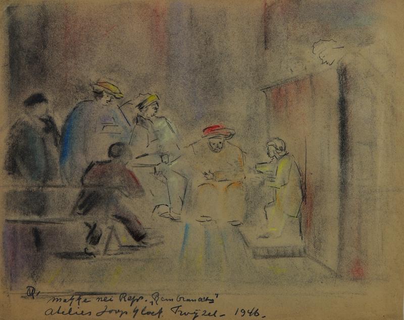 Makke nei reproduktie Rembrandt's atelier Joop Kloet Twijzel