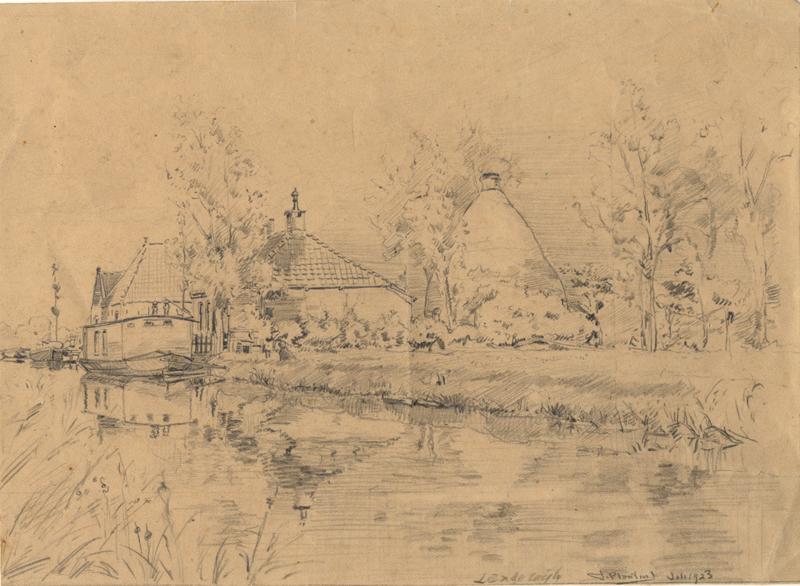 Tekening van de Langewijk en het Oosteinde te Drachten