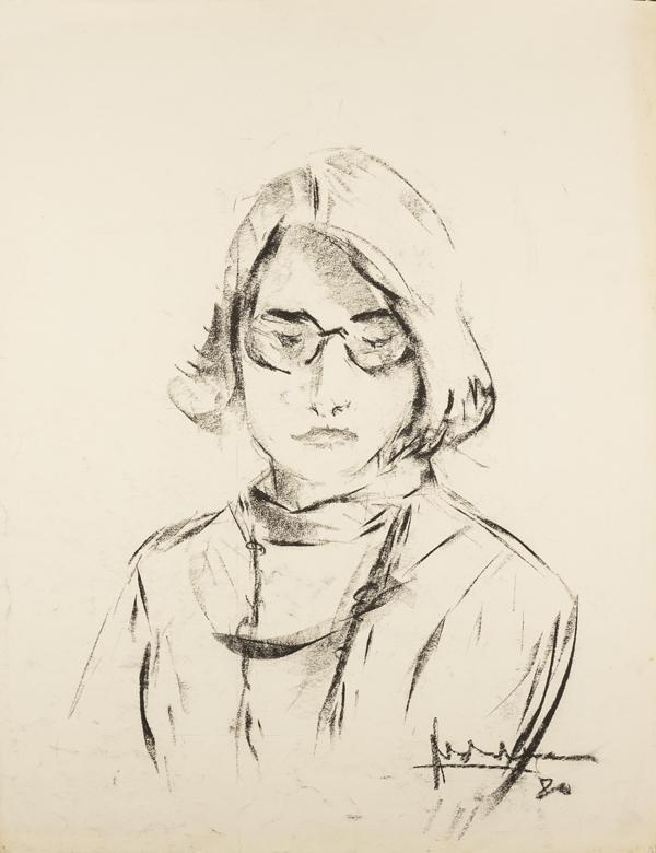 Jonge vrouw met bril, 1970