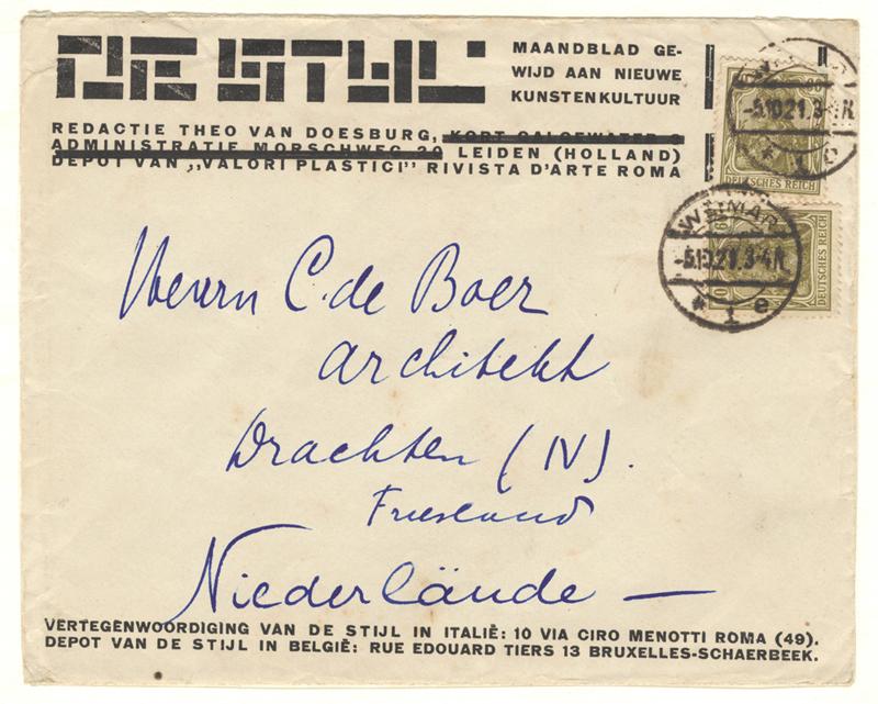 """Envelop """"De Stijl"""", 1921-05-10"""