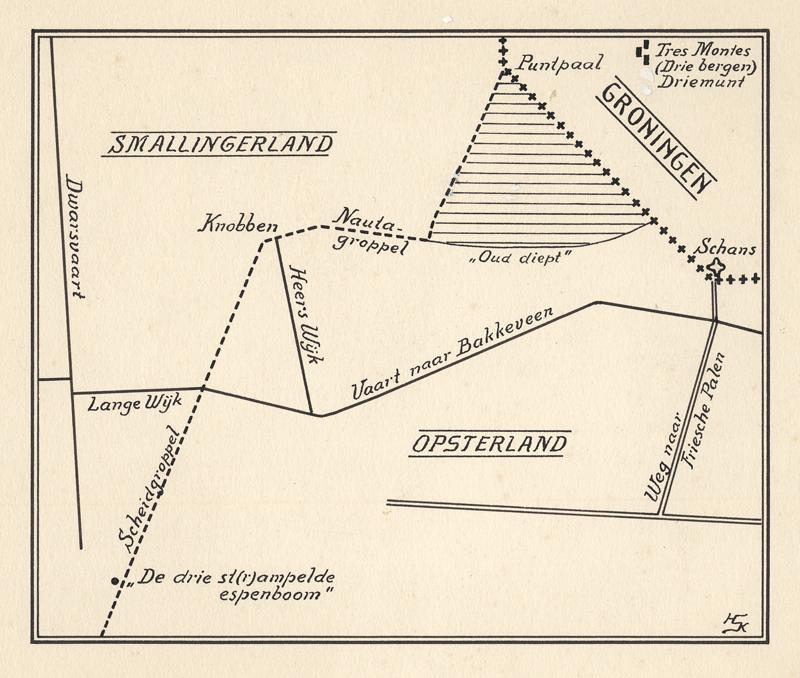 Kaart met details van Smallingerland, Opsterland en Groningen