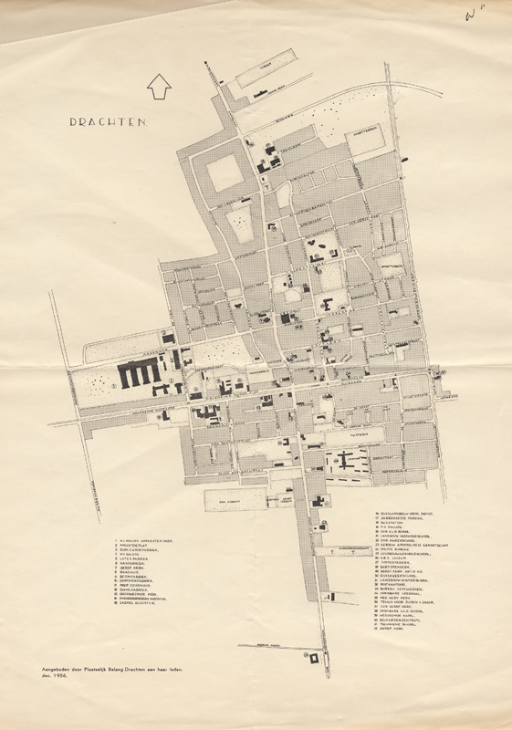 Plattegrond van Drachten, 1956-12