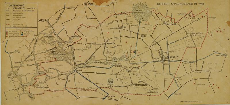 Kaart van de gemeente Smallingerland, 1948