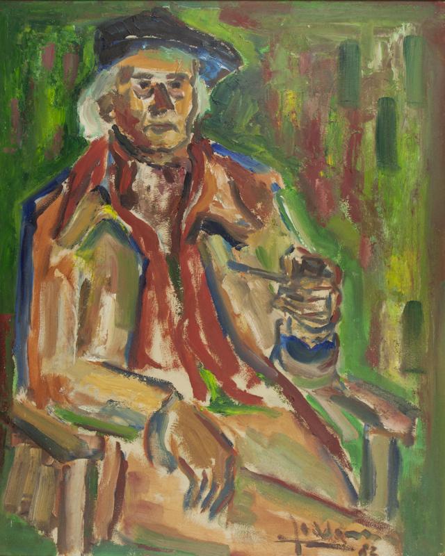 Portret van de kunstenaar Fré Sikma, 1982