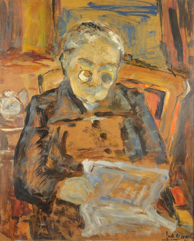 Vrouw met bril die krant leest, 1961