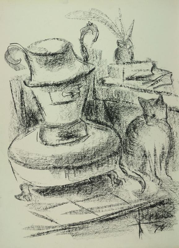 Stilleven met poes en potkachel, 1974