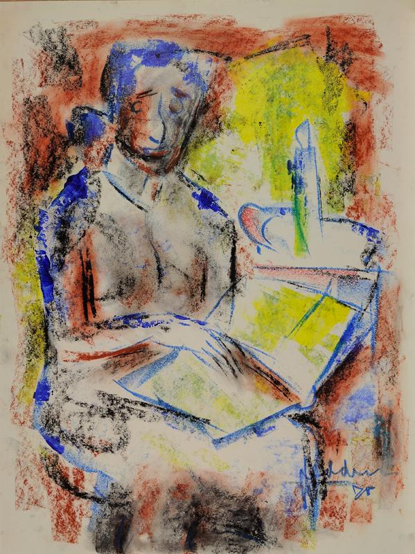 Lezende vrouw bij kaarslicht, 1978
