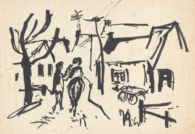 2 Mannen pratend door het dorp