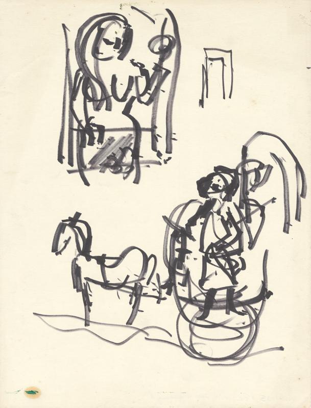 Schets van vrouw op stoel en man op kar met paard ervoor