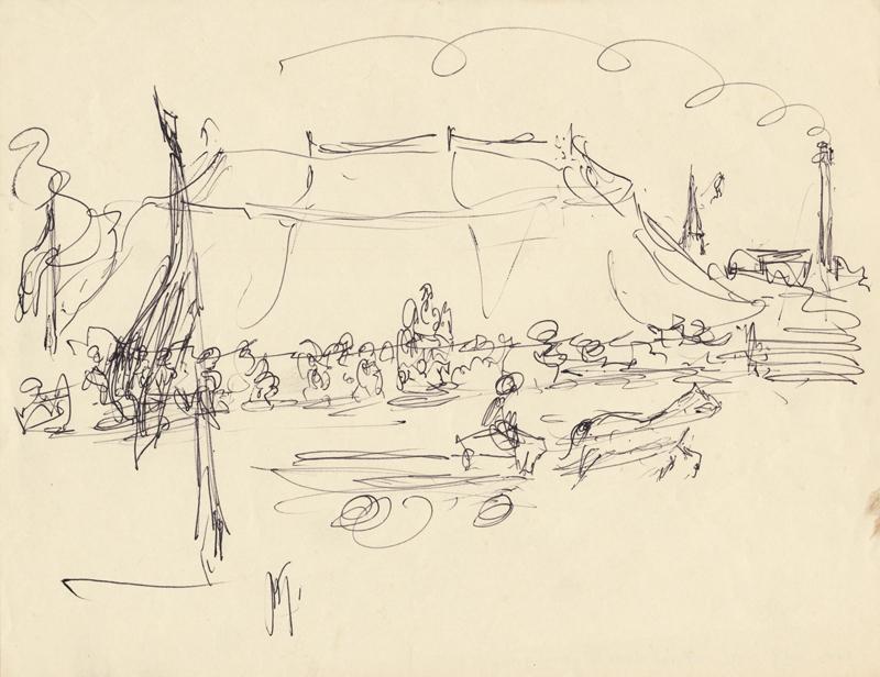 Man met paard en wagen langs circustent