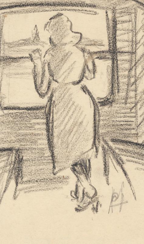 Dame, die uit een raam van de trein kijkt