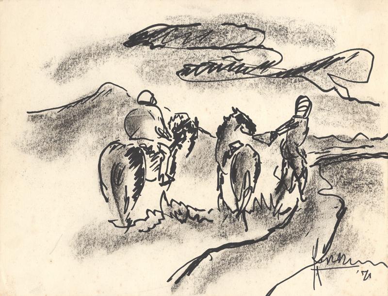 2 Paarden in heuvellandschap