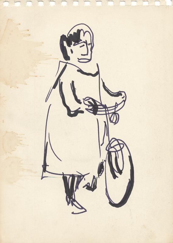 Een figuur met een fiets