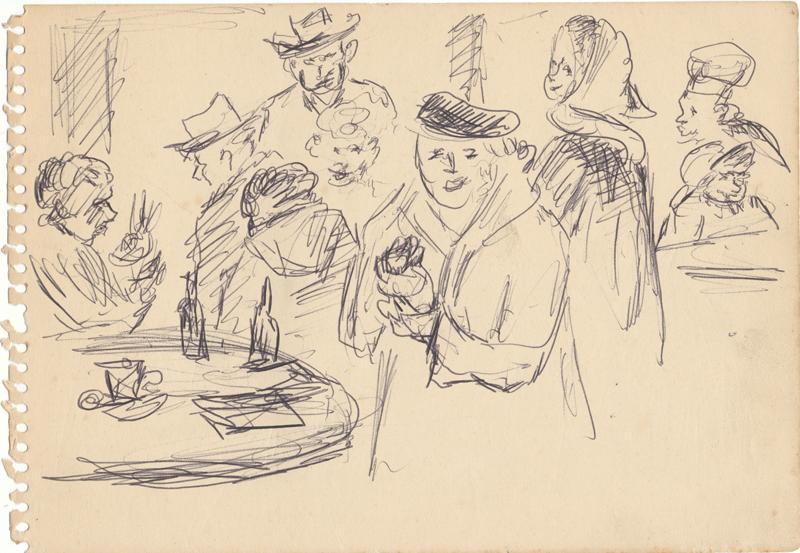 Negen figuren met hoofddeksels bij een tafel