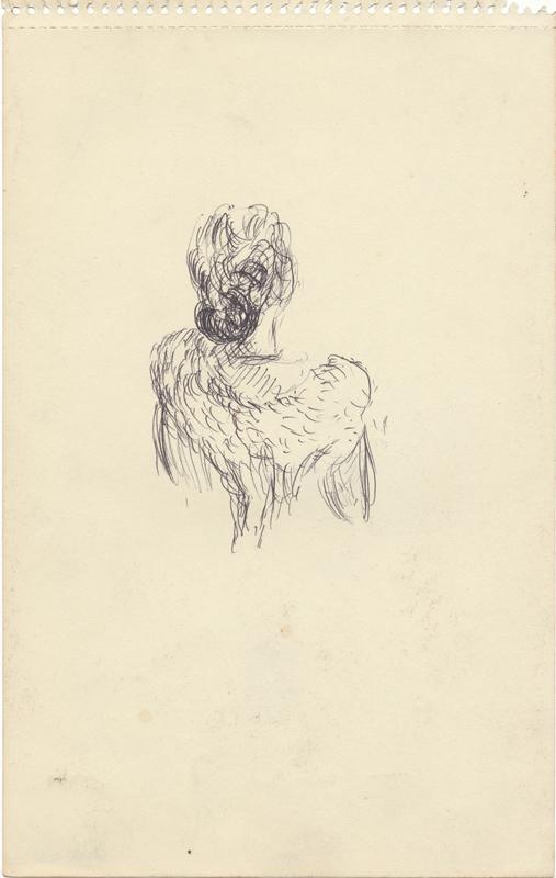 Een figuur op de rug ziend