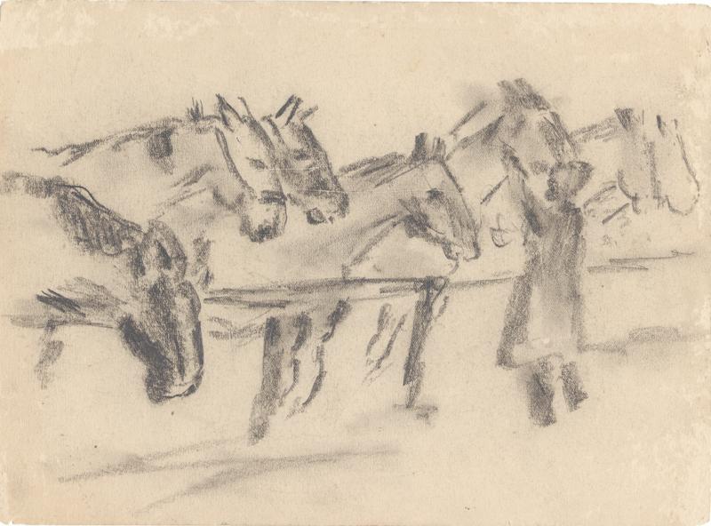 Zes paarden en een figuur