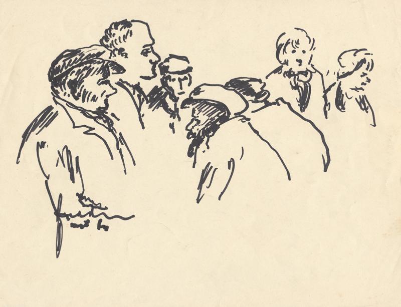 Zeven half afgebeelde figuren