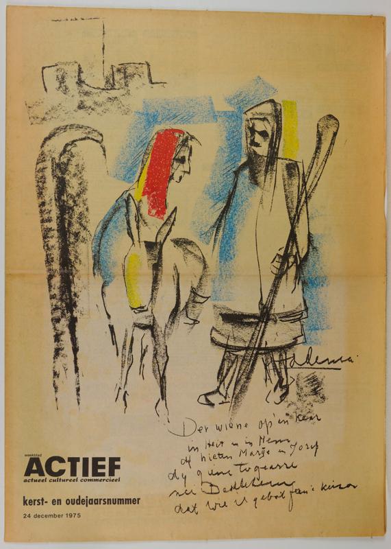 """Weekblad ACTIEF kerst-en oudejaarsnummer 24 december 1975, met voorplaat """"Jozef en Maria op weg naar Bethlehem"""""""
