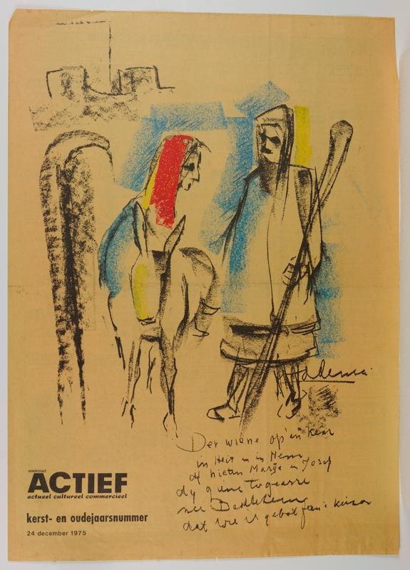 """weekblad ACTIEF kerst-en oudejaarsnummer 24 december 1975, met voorplaat """"Jozef en Maria op weg naar Bethlehem"""", door Pier Feddema"""