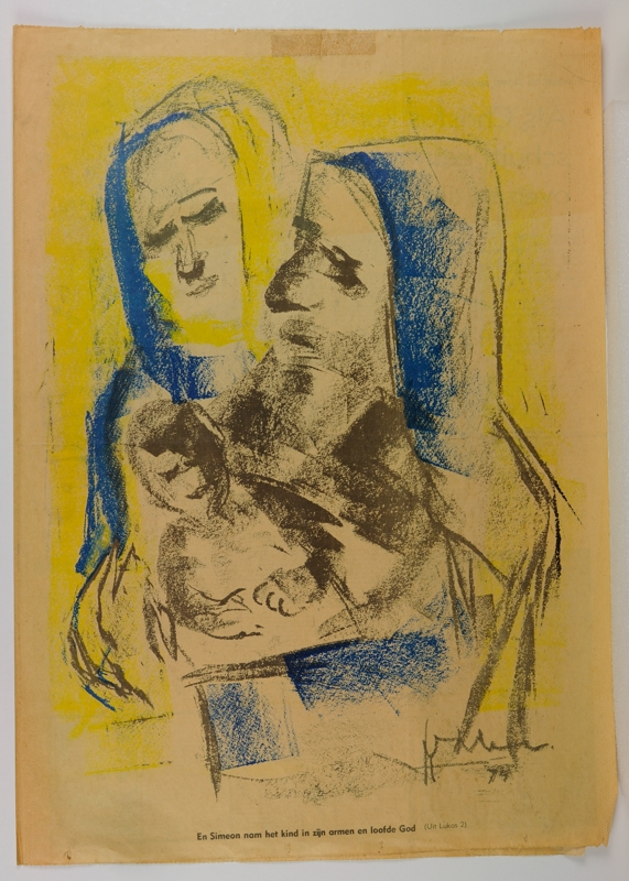 """Friesch Dagblad 21 december 1974, met voorplaat """"Simeon, Maria en het kind Jezus"""", door Pier Feddema"""