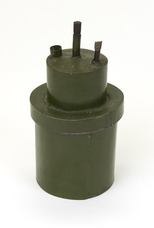 Een groene carbidlamp van zink