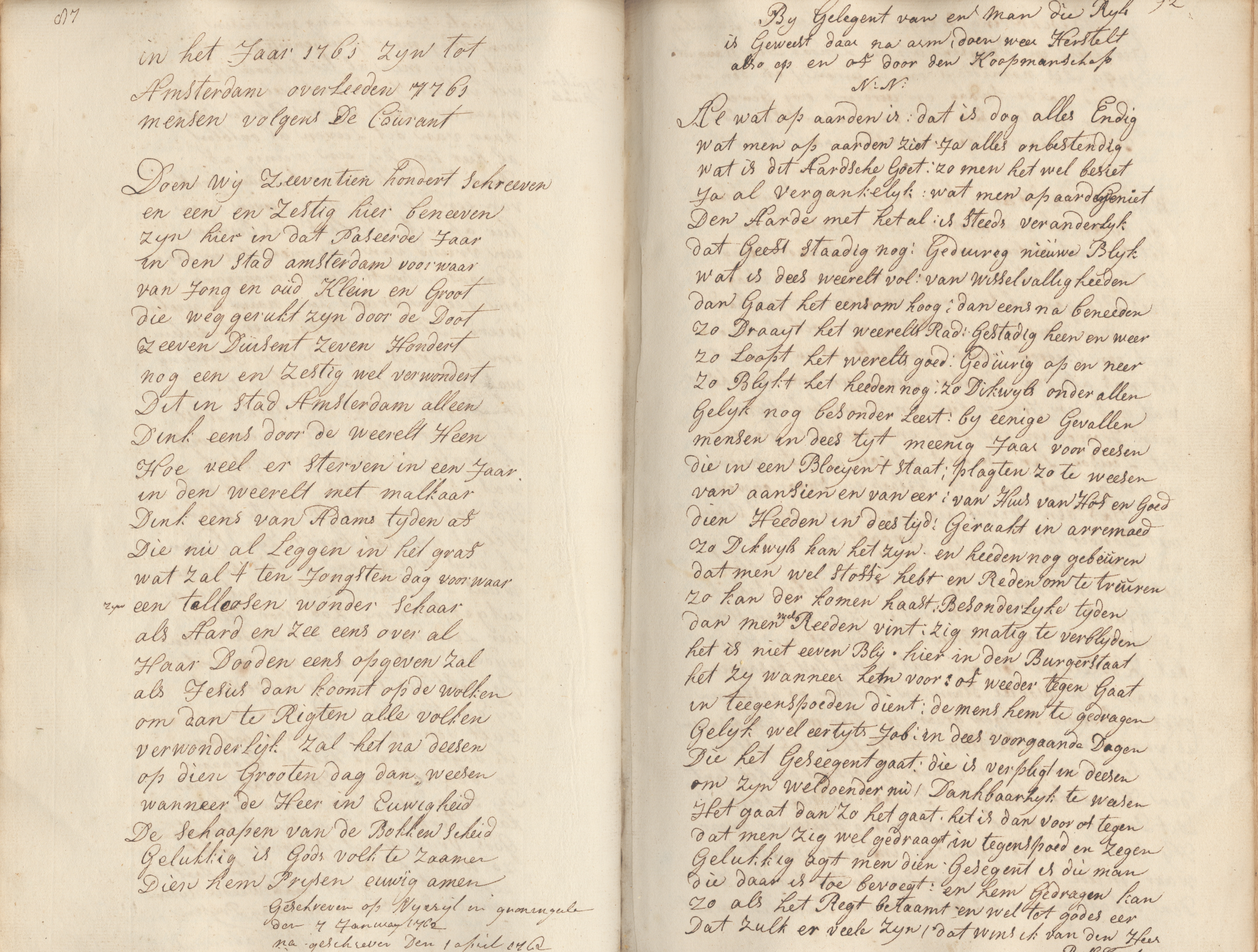 in het Jaar 1761 zijn tot Amsterdam overleeden 7761 mensen volgens De Couran