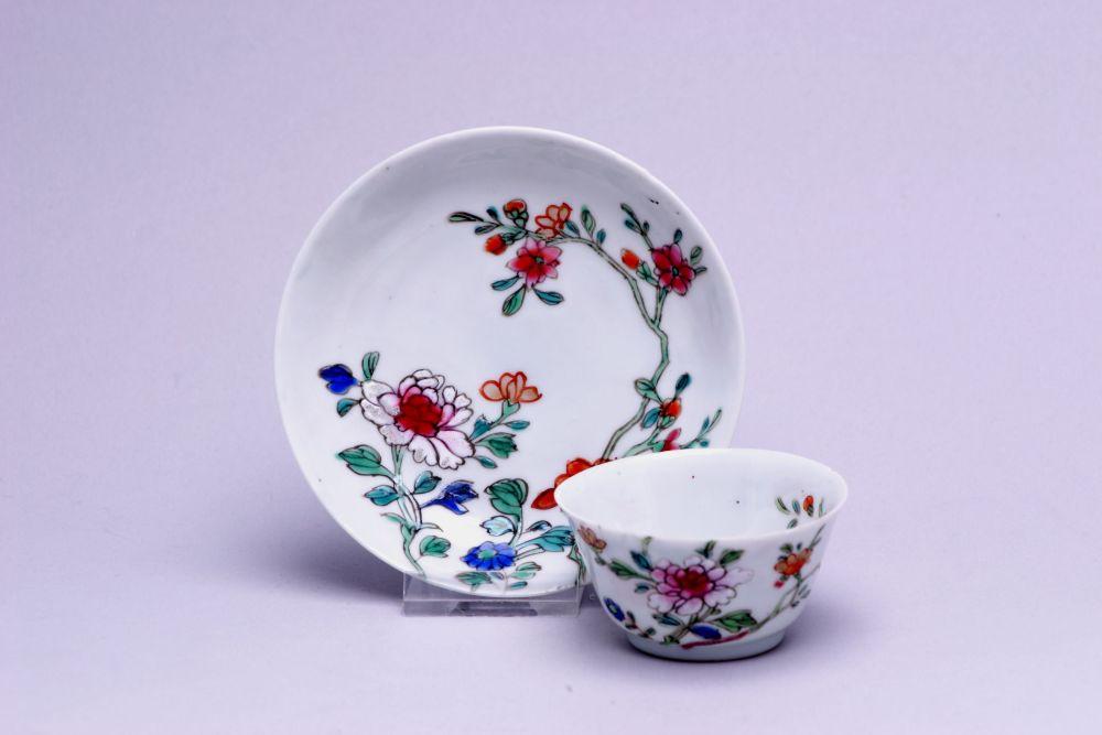 Kopje van Chinees porselein met bloemdecor