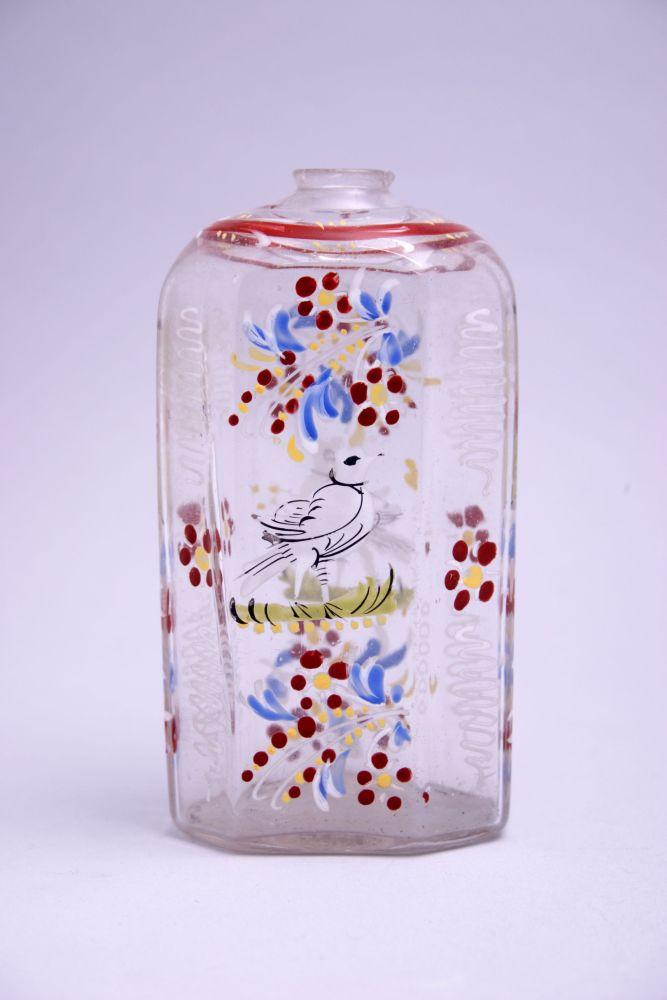 Muizenfles met schildering van bloemen en vogels