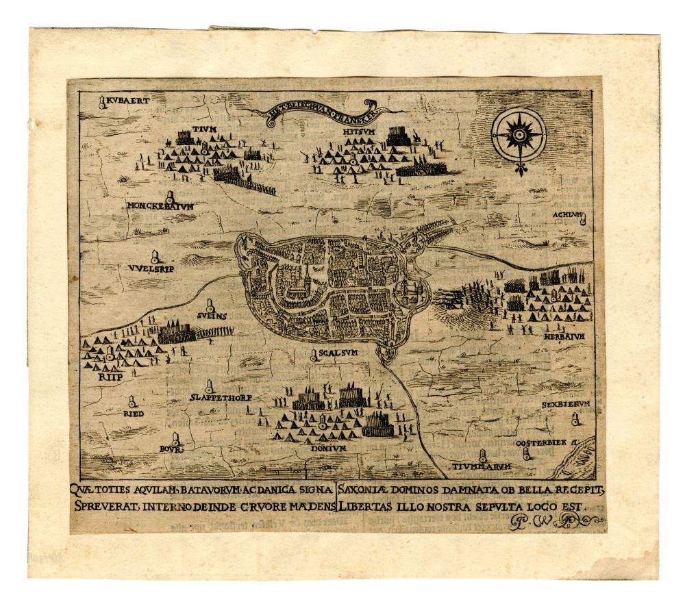 Plattegrond van Franeker en omgeving waarop het beleg van Franeker in 1500 is afgebeeld