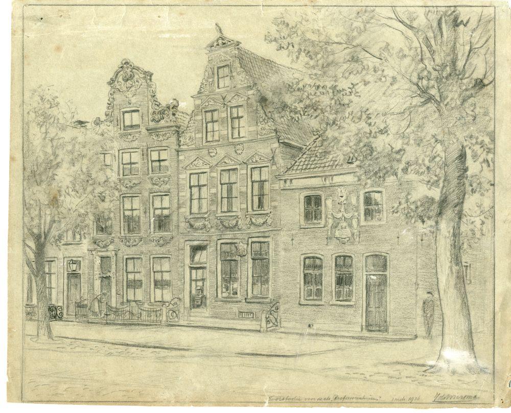 Tekening met potlood van drie panden aan de Voorstraat in Franeker door Ids Wiersma