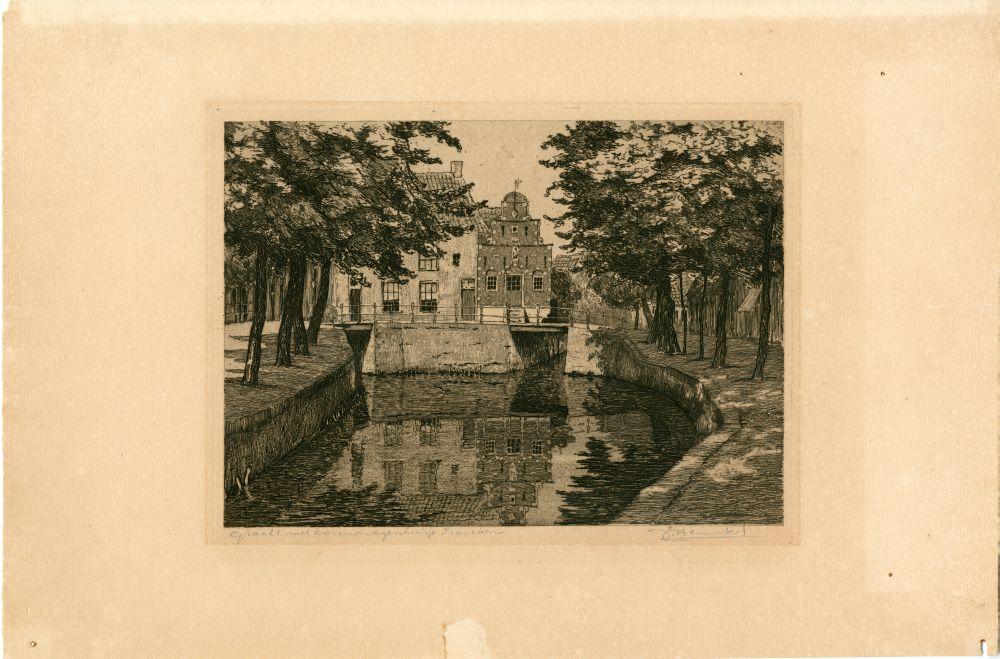 Ets van een gracht met het Korendragershuisje in Franeker door Johan Hemkes