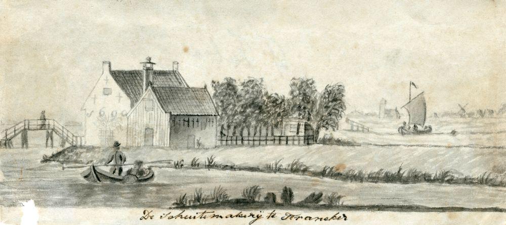 Tekening met penseel en inkt van de Schuitenmakerij bij Franeker door Ynsen Faber
