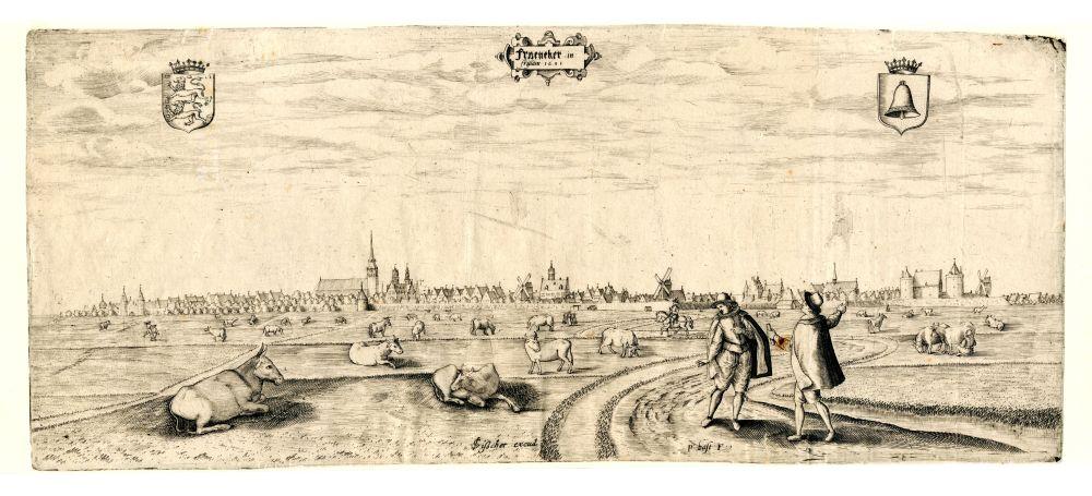 Gravure van de noordzijde van Franeker door Pieter Bast