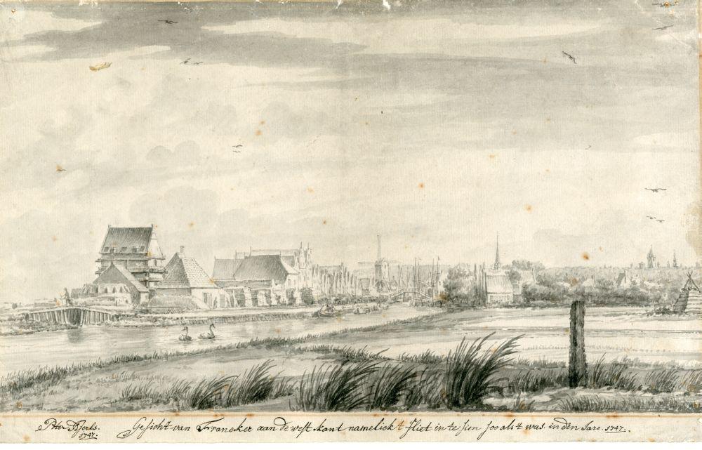 Tekening met penseel en inkt van een stadsgezicht van Franeker door Pieter Idserts Portier