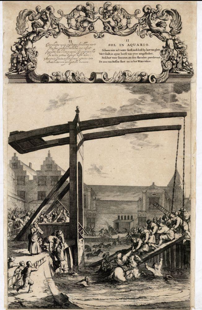 Gravure van het ongeluk van Prins Jan Maurits van Nassau op de brug in de Dijkstraat door Nicolaas Visscher