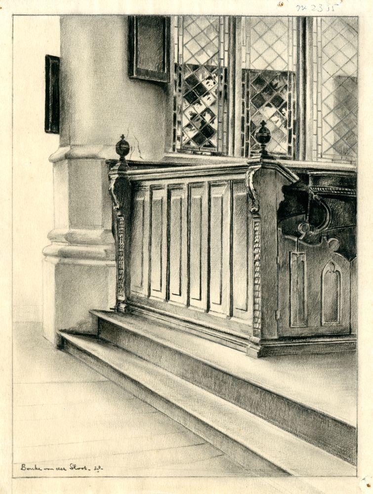 Tekening met potlood van een koorbank in een kerk door Bouke van der Sloot