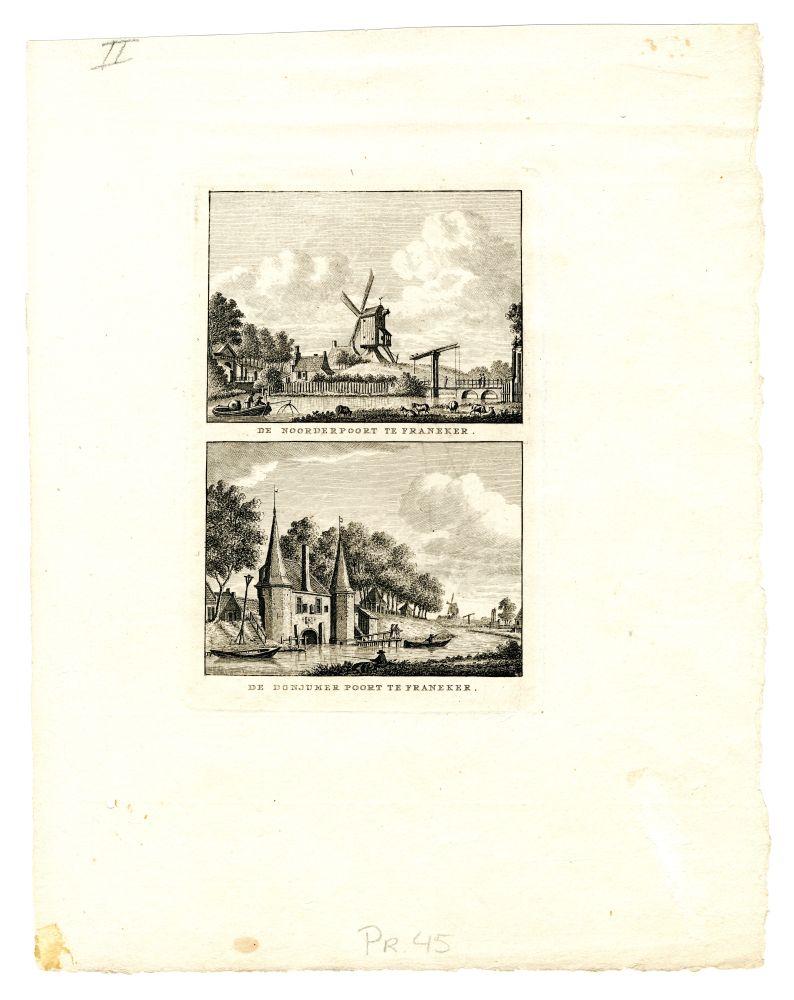 Twee gravures van de Noorder- en Dongjumerpoort te Franeker