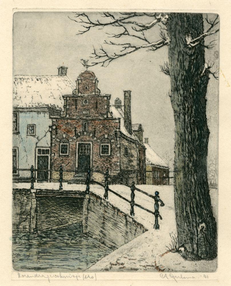 Ets in kleur van het Korendragershuisje in Franeker in de winter door Abe Gerlsma