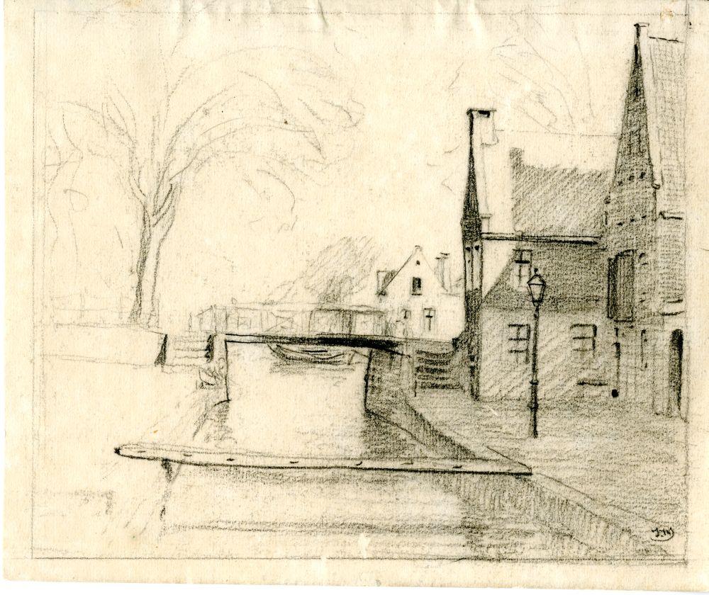 Tekening met potlood van de Froonacker in Franeker door Ids Wiersma