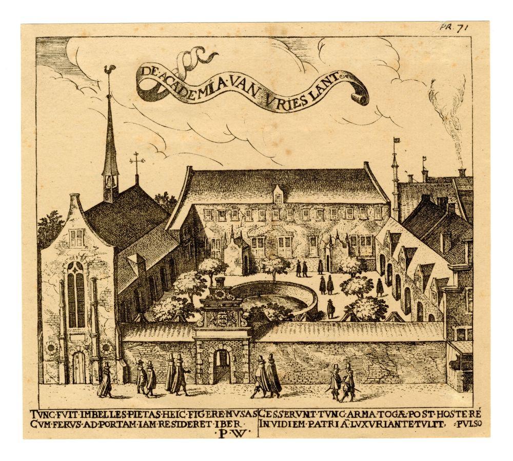 Gravure van de Hoogeschool in Franeker