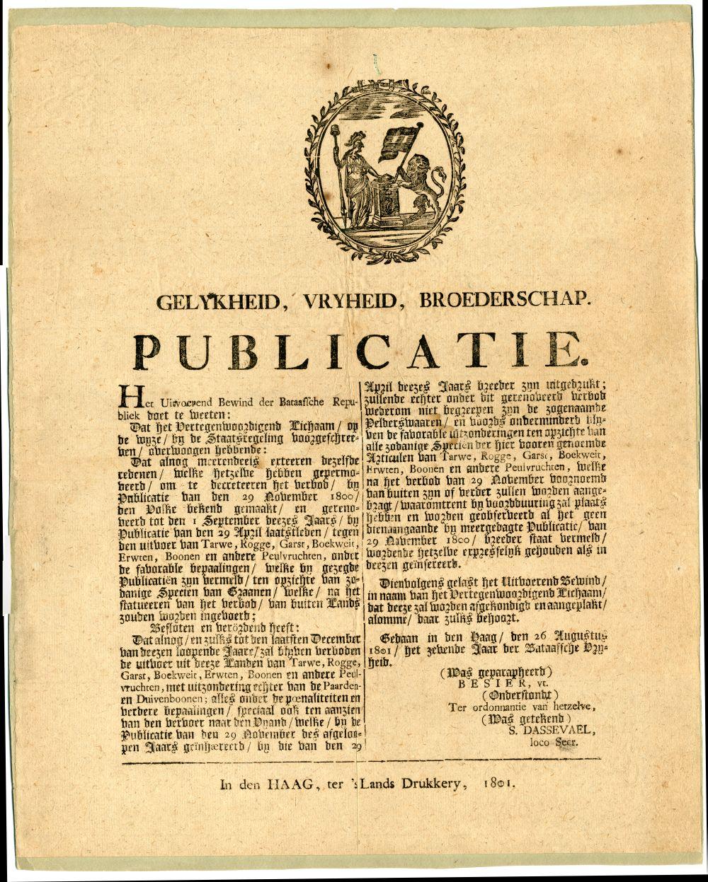 Publicatie van de Bataafsche Republiek