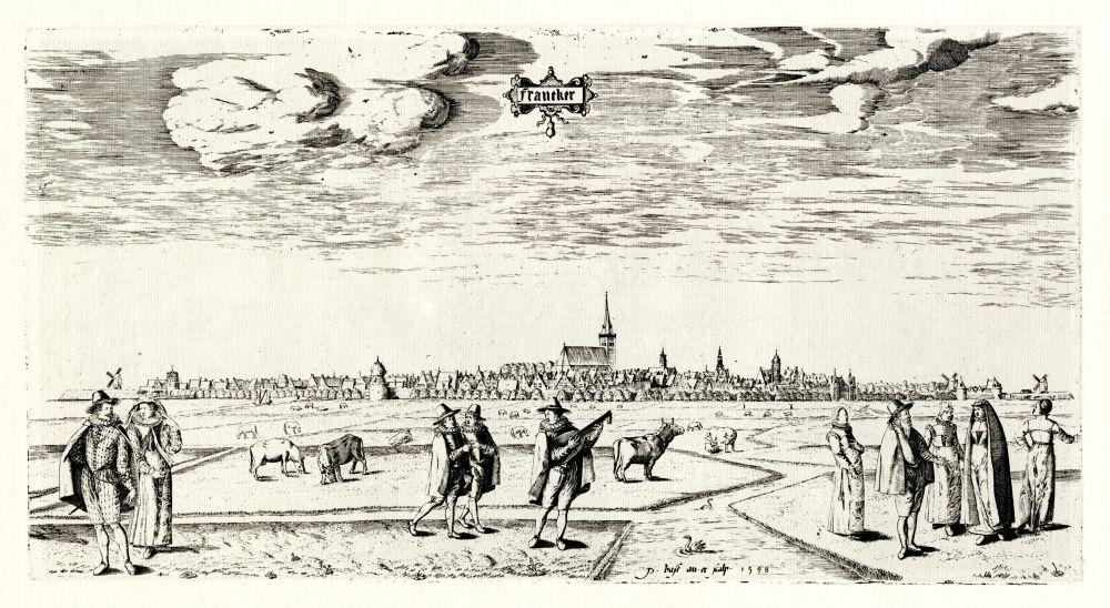 Gravure van de Noordkant van Franeker door Petrus Bast