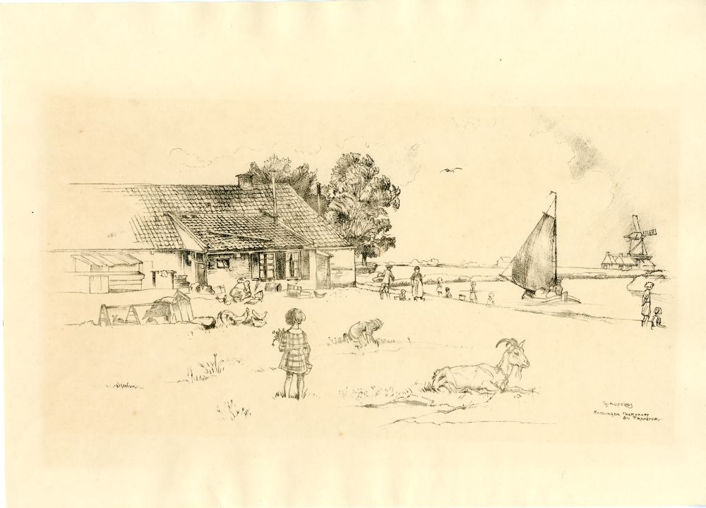 Lithografie van een huis aan de Harlinger Trekvaart bij Franeker door Sjoerd Kuperus