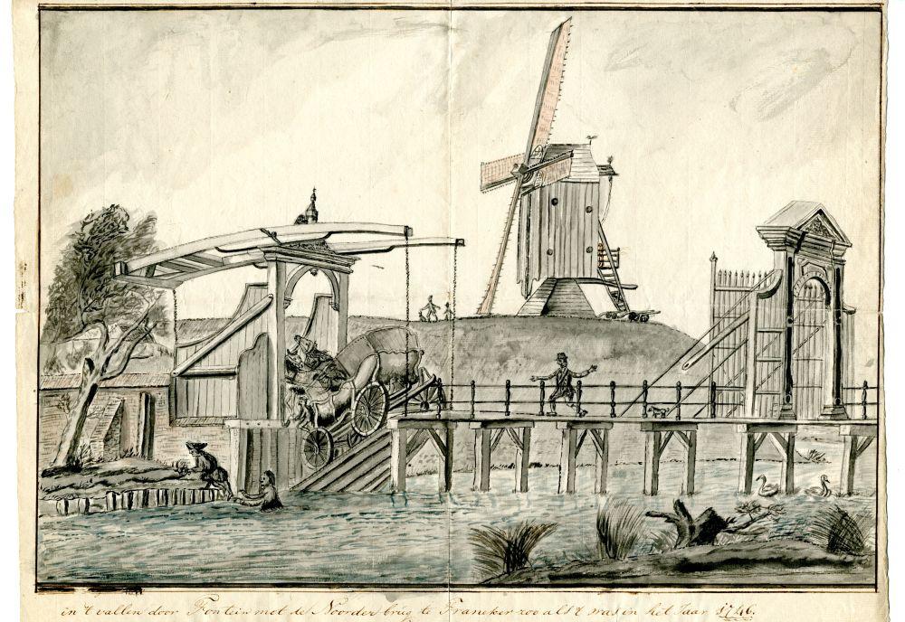 Tekening van de Noorderbrug door Pieter Idserts Portier
