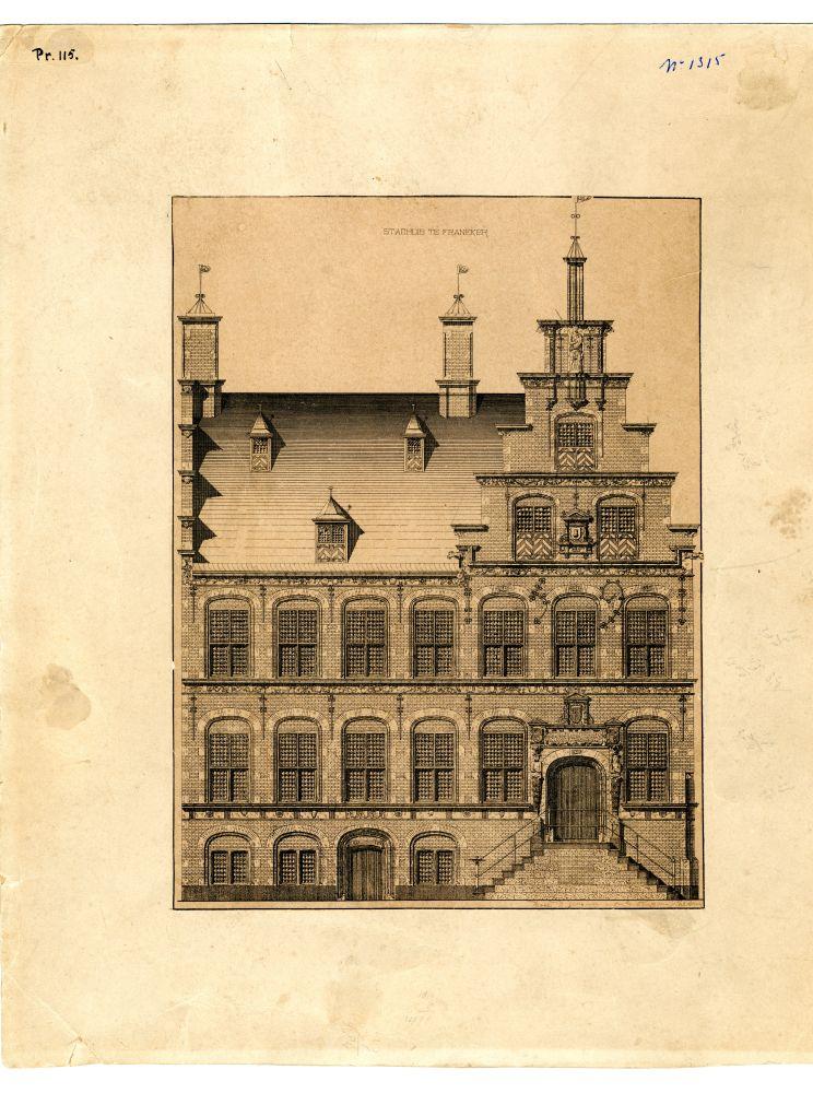Gravure van de gevel van het stadhuis