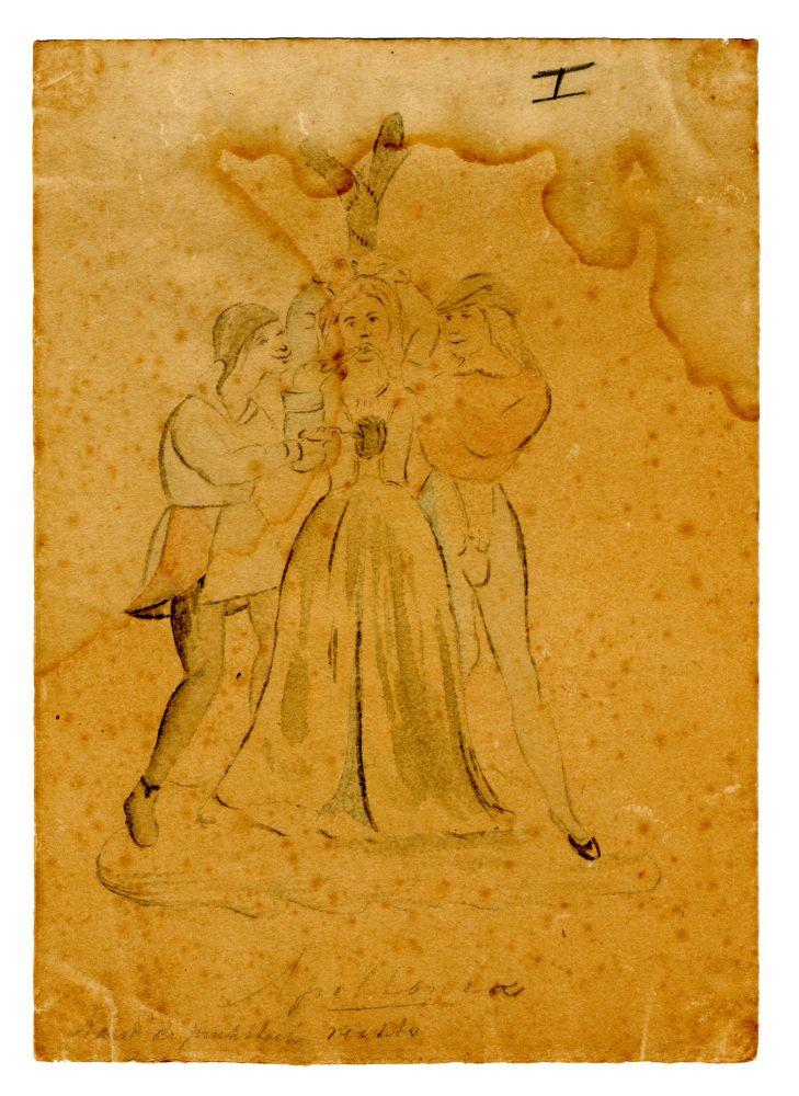 Aquarel van een muurschildering in de Martinikerk